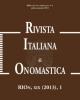 rivista italiana di onomastica rion xix 2013